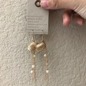 NWT Anthropologie pearl shell tassels earrings